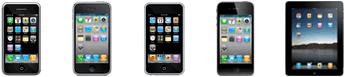 iPhone 2G, iPhone 3G, iPhone 3Gs, iPhone 4, iPod Touch and iPad